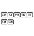 calendar day icon set week day icon set vector image