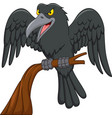 cartoon raven on a tree branch isolated on white b vector image vector image
