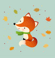cartoon red fox with autumn leaves vector image
