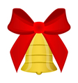 Christmas bell with red bow vector image vector image