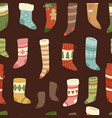 christmas socks santa xmas new year gift vector image
