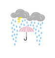 cloud with lightning and rain drops umbrella vector image vector image