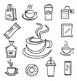 coffee icon set with accessories and ingredient vector image vector image
