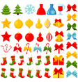 colorful cartoon 46 christmas elements set vector image
