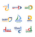 corporate identity symbols with letter d vector image