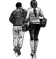 couple on a walk vector image vector image