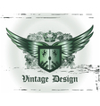 crown with wings and shield vector image vector image
