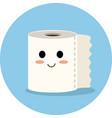 cute toilet paper cartoon icon vector image vector image