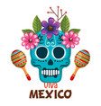 day of the dead mask with maracas vector image vector image