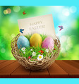 easter background with basket and eggs standing vector image vector image