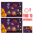 find differences kids halloween game or riddle vector image