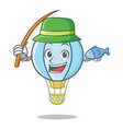 fishing air balloon character cartoon vector image