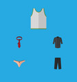 flat icon garment set of uniform lingerie cravat vector image vector image