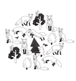 Fox forest black isolate objects white vector image vector image