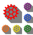 gear sign set of red orange yellow green blue vector image vector image