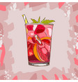 glass with classic strawberry lemonade - beautiful vector image