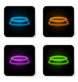 glowing neon pet food bowl for cat or dog icon vector image