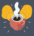hands holding a cup of coffee vector image vector image