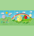 happy easter greeting card with egg and flowers vector image