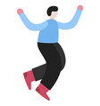 happy laughing man jumping with raised hands vector image vector image