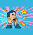 head a man screaming vector image vector image