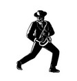 jazz musician playing sax woodcut vector image vector image