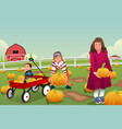 kids on a pumpkin patch trip vector image vector image