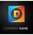 Letter D logo symbol in the colorful square on vector image vector image