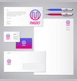 magnet logo m letter identity business card vector image