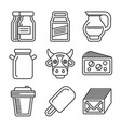 milk icons set on white background line style vector image