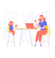 mom and daughter in living room vector image vector image
