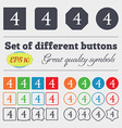 number four icon sign Big set of colorful diverse vector image vector image