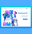 people connecting puzzle elements teamwork flat vector image