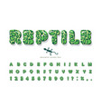 reptile skin cartoon font animal green spotted vector image