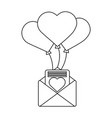 romantic message letter and balloons flying vector image vector image