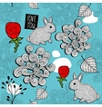 Romantic seamless pattern with cute rabbits and vector image vector image