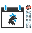 Rooster Head Calendar Day Icon With Bonus vector image vector image