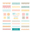 set 20 sketch lace seamless brushes vector image vector image