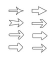 set line outline icons arrow vector image