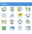 set of internet online services icons in vector image