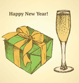Sketch New Year set in vintage style vector image