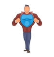 Superhero tearing his shirt icon cartoon style vector image