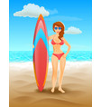surfer girl on a beach woman with surfboard vector image