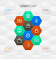 trade outline icons set collection of team vector image vector image