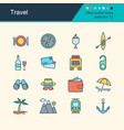 travel icons filled outline design vector image