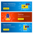 video marketing startup newsletter line art flat vector image