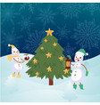 winter landscape with snowmen and christmas fir vector image