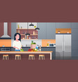 woman cooking salad in modern kitchen room vector image vector image
