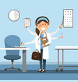 woman doctor multitasking at the hospital vector image vector image