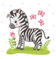 zebra standing on a flower meadow cute african vector image vector image